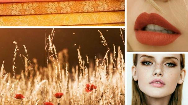 Gold Peach Brown Mood Board Photo Collage
